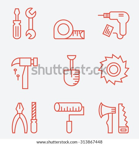 Tools icons, thin line style, flat design - stock vector