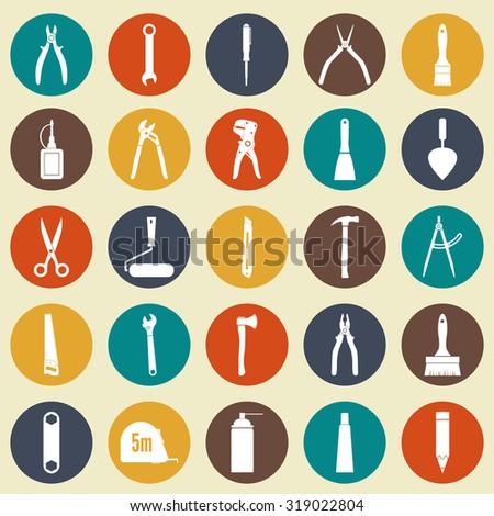 tools icons.  working tools. set of repair and construction  white icons on the colored circles, isolated. Can be used for web and mobile applications. Vector illustration - stock vector