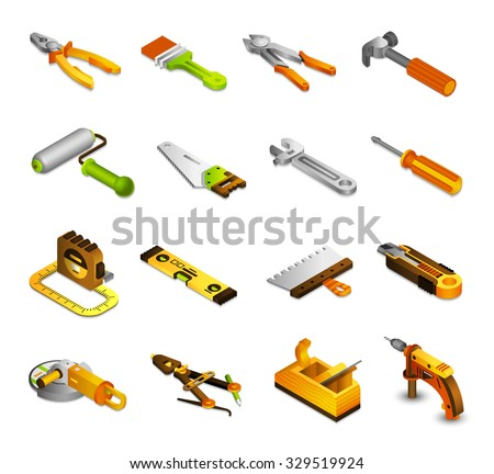 Tools isometric icons set with 3d saw paint roller pliers isolated vector illustration - stock vector