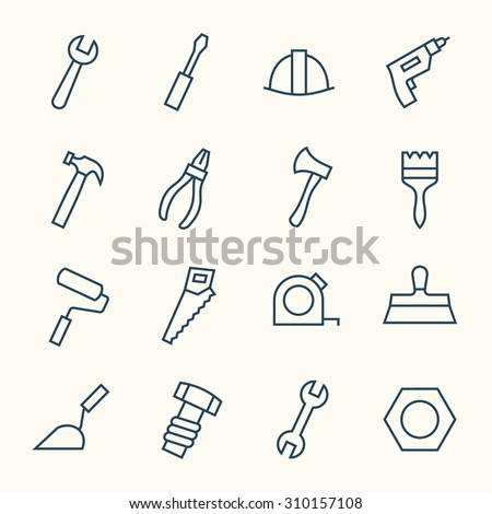 Tools line icons - stock vector