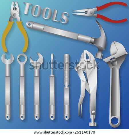tools on blue background  - stock vector