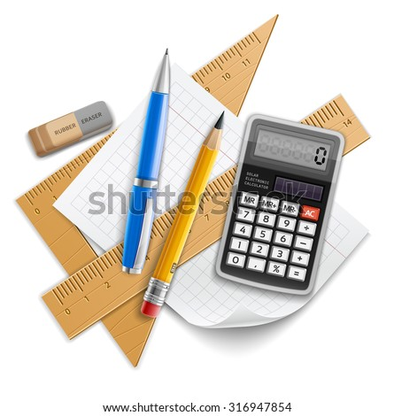 Tools set for education, pencil, pen, calculator, rulers and rubber. Eps10 vector illustration. Isolated on white background - stock vector