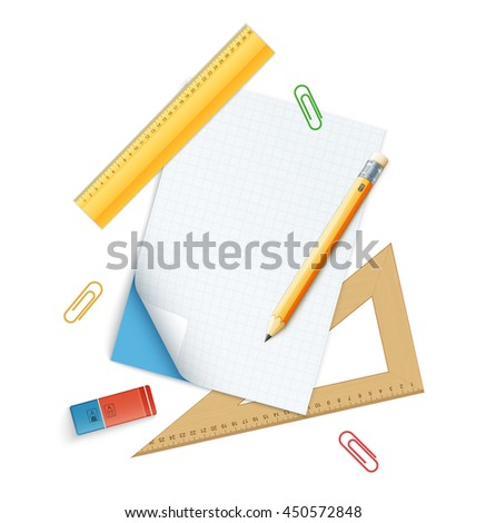 Tools set for education, pencil, rulers and rubber. eps10 vector illustration isolated on white background