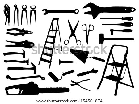 Tools Silhouettes - stock vector