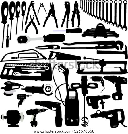 tools silhouettes collection - vector - stock vector