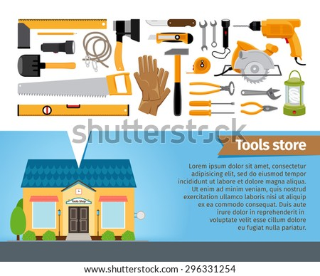 Tools store. Set of building instrument screwdriver spanner pliers shovel level saw ax hammer. Vector illustration - stock vector