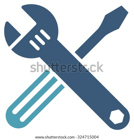 Tools vector icon. Style is bicolor flat symbol, cyan and blue colors, rounded angles, white background.