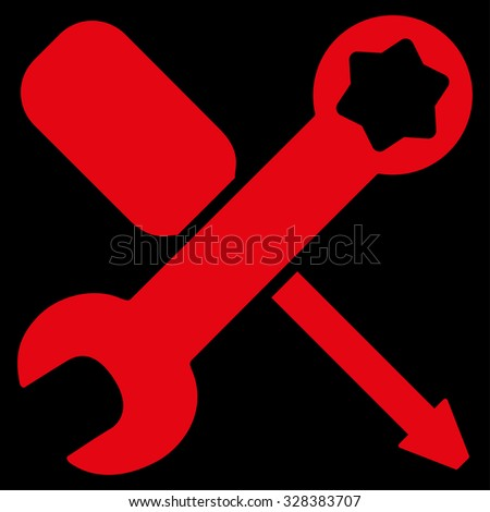 Tools vector icon. Style is flat symbol, red color, rounded angles, black background.