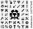 Tools vector icons set on gray.  - stock vector