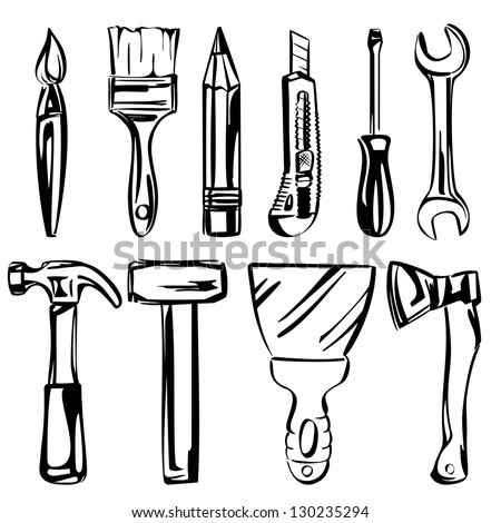 tools vector set vector illustration realistic sketch
