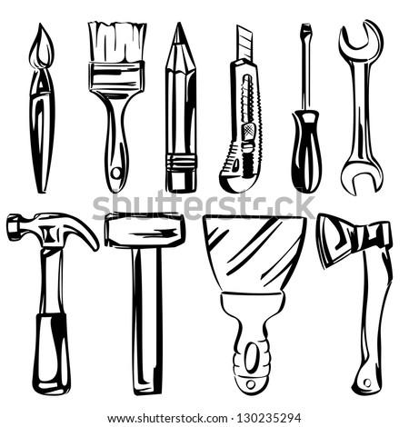 tools vector set vector illustration realistic sketch - stock vector