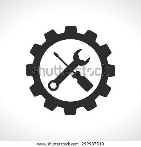 tools with gear service  logo icon