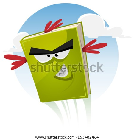 Toon Bird Book Character Flying/ Illustration of a funny cartoon bird book character with beak and feathers flying in the sky - stock vector