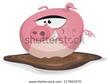 Cartoon Pig In Mud Puddle Toon pig wash in pond bath/