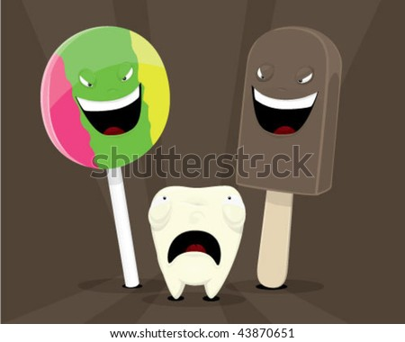 Tooth afraid to candies. - stock vector