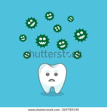 Tooth and bacteria attacking it. Vector illustration - stock vector