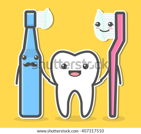 Tooth and toothbrushes. Teeth hygiene concept. Dental vector illustration - stock vector