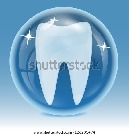 tooth being into a blue sphere on a blue background