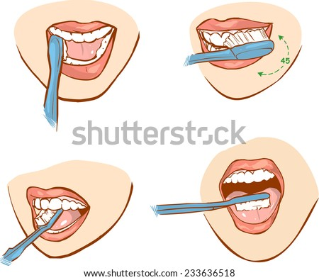 tooth brushing - stock vector