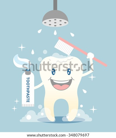 Tooth brushing and take shower. Vector flat illustration