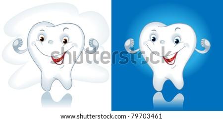 tooth cartoon. Healthy tooth. Cartoon - stock vector