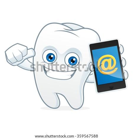 Tooth cartoon mascot hold, phone - stock vector