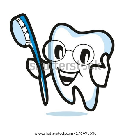 Tooth character on a white background, the image a healthy tooth with toothbrush, vector symbol