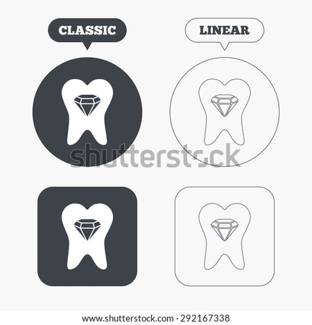 Tooth crystal icon. Tooth jewellery sign. Dental prestige symbol. Classic and line web buttons. Circles and squares. Vector - stock vector