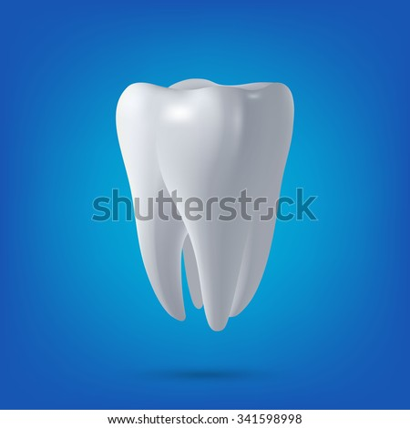 Tooth, 3D render. Dental, medicine and health concept design element. Vector EPS10 illustration.  - stock vector