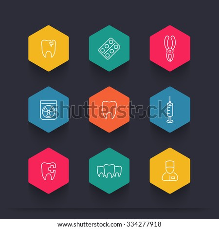 Tooth, dental care, dental pliers, toothcare, stomatology, line color icons, vector illustration - stock vector