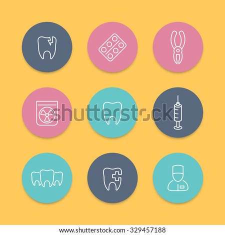 Tooth, dental care, dental pliers, toothcare, stomatology, line round icons, line icons, vector illustration - stock vector