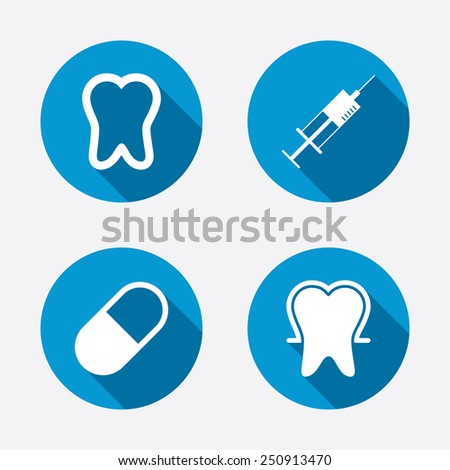 Tooth enamel protection icons. Medical syringe and pill signs. Medicine injection symbol. Circle concept web buttons. Vector - stock vector