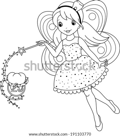 tooth fairy coloring page - stock vector