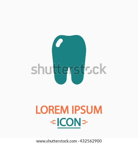Tooth Flat icon on white background. Simple vector illustration - stock vector