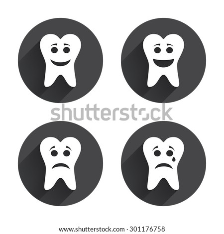Tooth happy, sad and crying faces icons. Dental care signs. Healthy or unhealthy teeth symbols. Circles buttons with long flat shadow. Vector - stock vector