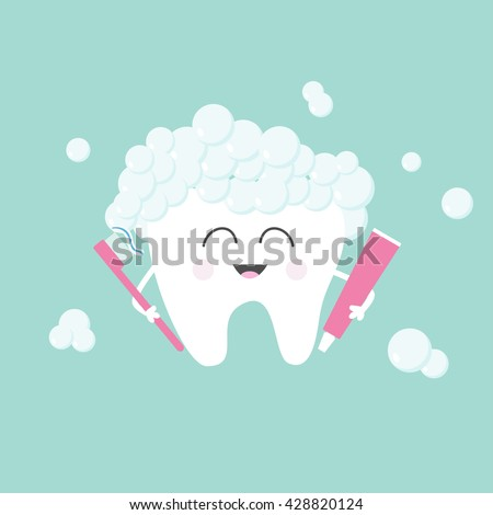 Tooth holding toothpaste and toothbrush. Bubbles foam. Cute funny cartoon smiling character. Children teeth care icon. Oral dental hygiene Tooth health. Baby background Flat design Vector illustration - stock vector