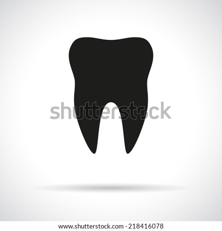 Tooth icon. Black flat symbol with shadow. - stock vector