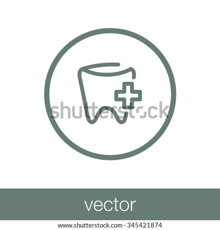Tooth Icon. Concept flat style design illustration icon. - stock vector