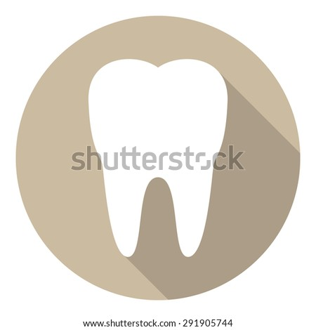 Tooth icon in flat design. Stock vector - stock vector