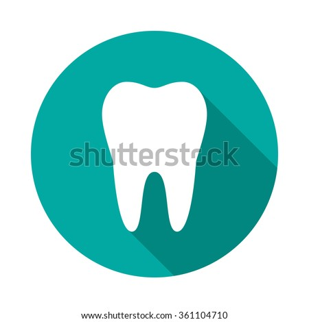 Tooth icon with long shadow. Flat design style. Round icon. Web and mobile design element. - stock vector