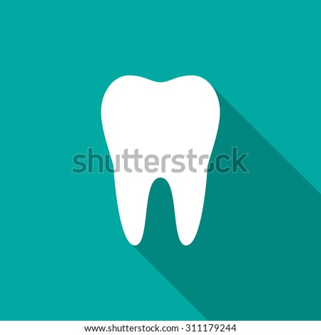 Tooth icon with long shadow. Flat design style. Tooth silhouette. Simple icon. Modern flat icon in stylish colors. Web site page and mobile app design element. - stock vector