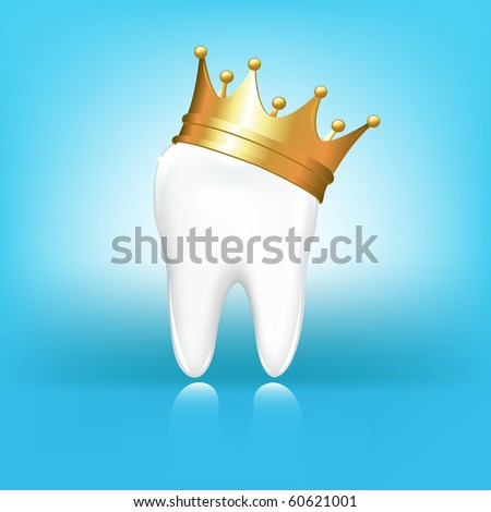 Tooth In Golden Crown, On Blue Background, Vector Illustration - stock vector