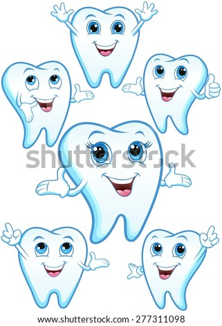 Tooth in various body postures, smiling, happy - stock vector