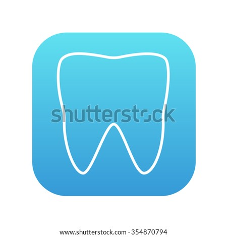 Tooth line icon for web, mobile and infographics. Vector white icon on the blue gradient square with rounded corners isolated on white background. - stock vector