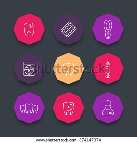 Tooth line icons, dental care, dental pliers, toothcare, dentist, color octagon icons set, vector illustration - stock vector