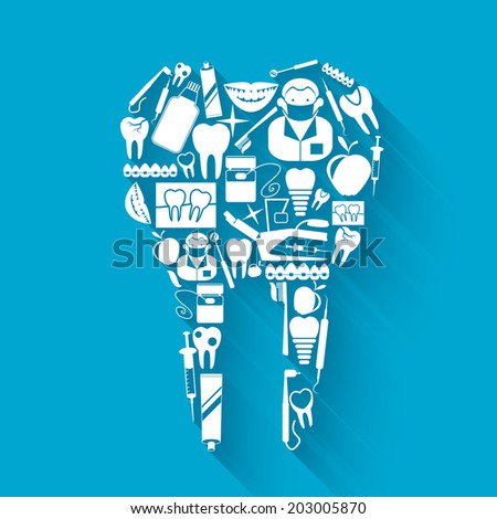 Tooth made of silhouette dental health and caries protection stomatology icons concept vector illustration - stock vector