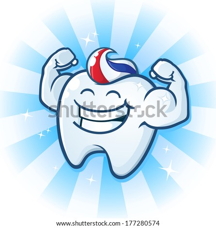 Tooth Mascot Muscle Man Dental Cartoon Character - stock vector