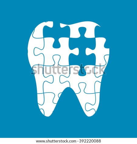 tooth of the puzzle,dental caries, vector illustration - stock vector