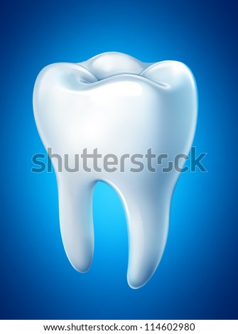 Tooth on a blue background. Vector - stock vector