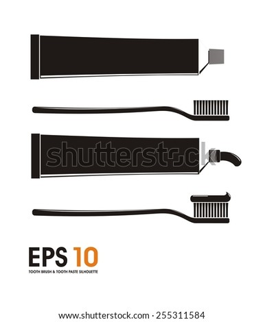 tooth paste and tooth paste silhouette - stock vector